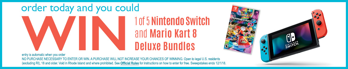 Order today and you could WIN 1 of 5 Nintendo Switch Deluxe Bundles!