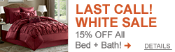 Last Call on White Sale - 15% off All Bed + Bath